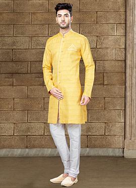 Yellow Art Silk Indowestern Sherwani