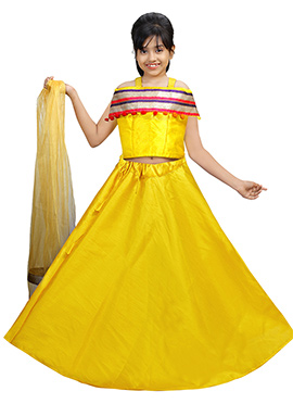 Yellow Art Silk Kids A Line Lehenga