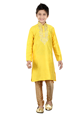 Yellow Art Silk Kids Kurta Pyjama