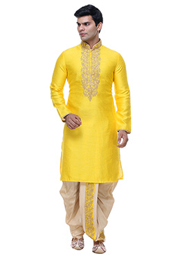 Yellow Art Silk Kurta Dhoti Set