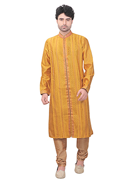 Yellow Art Silk Kurta Pyjama
