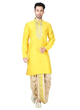 Yellow Art Silk Dhoti Set