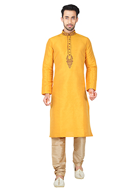 Yellow Art Silk Kurta Pyjama
