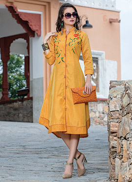 Yellow Art Silk Kurti