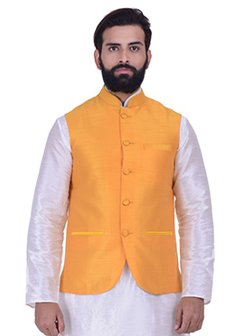 Yellow Art Silk Nehru Jacket