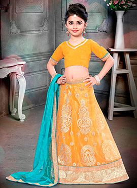 Yellow Art Silk Net Kids Lehenga