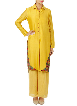 Yellow Art Silk Palazzo Set