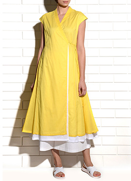 Yellow Art Silk Palazzo Suit