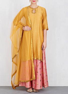Yellow Art Silk Palazzo Suit