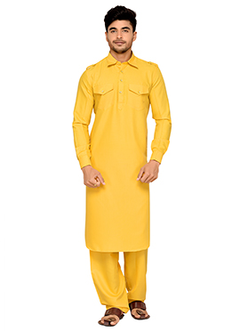 Yellow Art Silk Pathani Set