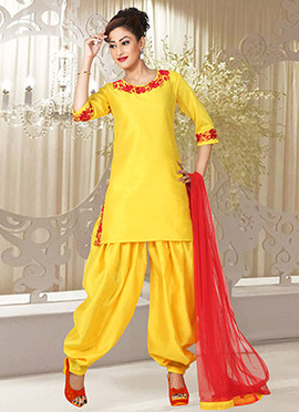 Yellow Art Silk Patiala Suit