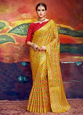 Yellow Art Silk Saree