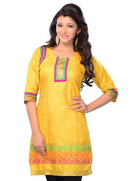 Yellow Art Silk Short Kurti