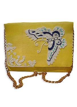 Yellow Art Silk Sling Bag