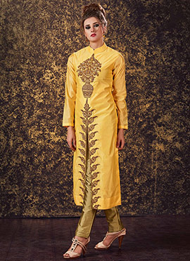 Yellow Art Silk Straight Pant Suit