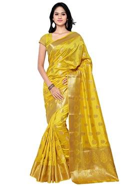 Yellow Art Silk Zari Weaving Designed Saree