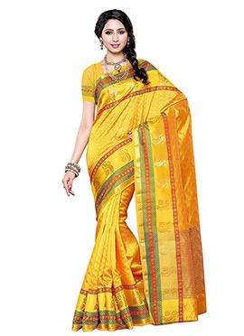Yellow Art Tussar Silk Saree