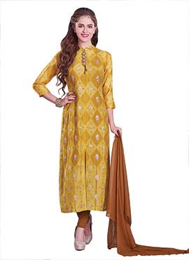 Yellow Bandhini Printed Straight Pant Suit