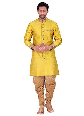Yellow Benarasi Art Silk Achkan Sherwani