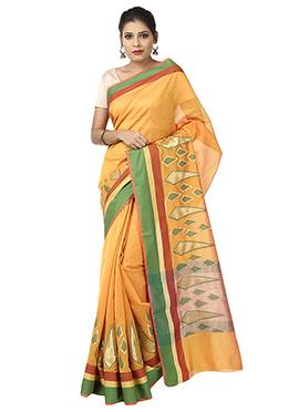 Yellow Benarasi Art Silk Saree