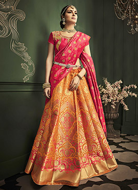 Yellow Benarasi Art Silk Umbrella Lehenga