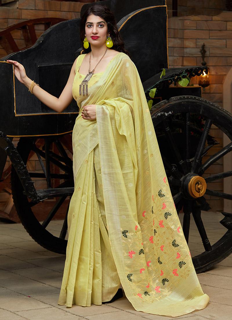 Cotton SILK Saree Bridal Gift Wedding Sari with Matching Designer Jacquard Readymade Sari Blouse
