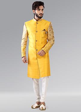 Yellow Benarasi Indowestern Sherwani