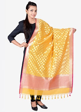 Yellow Benarasi Silk Dupatta