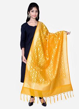 Yellow Benarasi Silk Dupatta