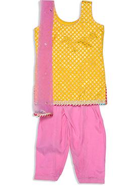 Yellow Benarasi Silk Kids Churidar Suit