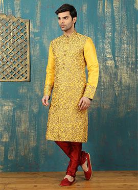 Yellow Benarasi Silk Kurta Pyjama