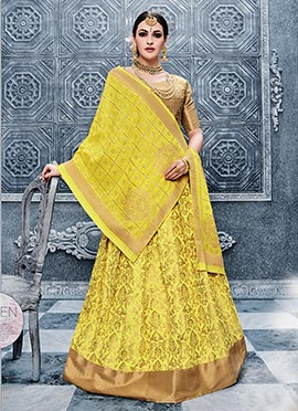 Yellow Benarasi Silk Umbrella Lehenga