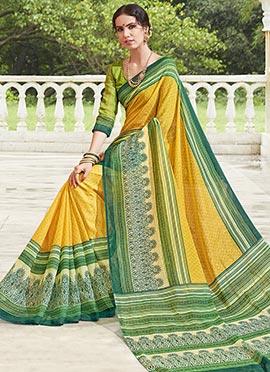 Yellow Bhagalpuri Art Silk Saree