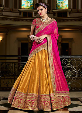 Yellow Bhagalpuri Silk Umbrella Lehenga