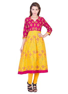 Yellow Blended Cotton Anarkali Kurti