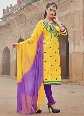 Yellow Blended Cotton Churidar Suit