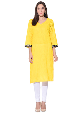 Yellow Blended Cotton Kurti