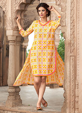 Yellow Blended Cotton Kurti