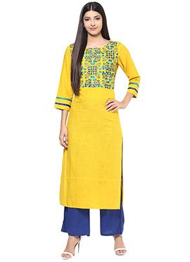 Yellow Blended Cotton Long Kurti
