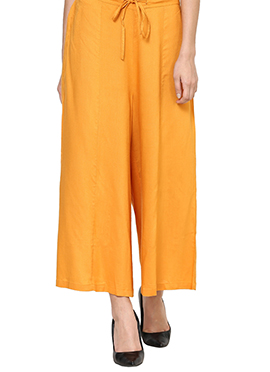 Yellow Blended Cotton Palazzo Pant