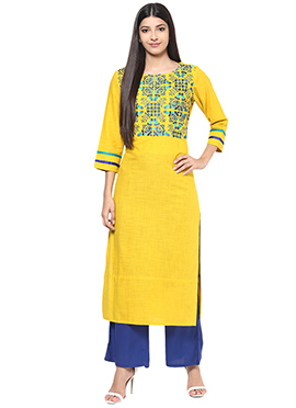 Yellow Blended Cotton Palazzo Set