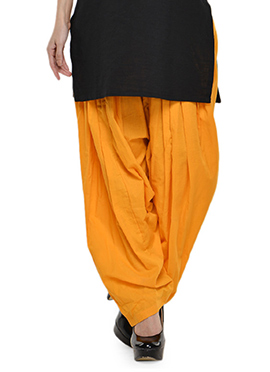 Yellow Blended Cotton Patiala Pant