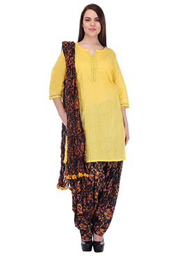 Yellow Pure Handloom Cotton Patiala Suit