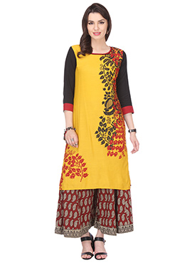 Yellow Blended Cotton Printed Kurti