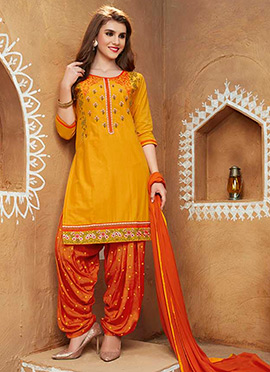 Yellow Blended Cotton Salwar Suit