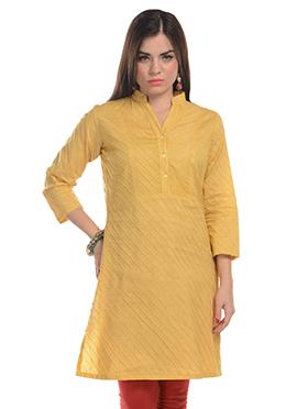 Yellow Blended Cotton Striped Kurti