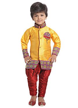 Yellow Breeches Style Kids Sherwani