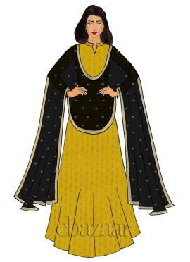 Yellow Brocade Abaya Style Anarkali Suit