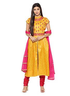 Yellow Brocade Anarkali Suit