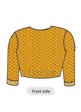 Yellow Brocade Closed Neckline Blouse